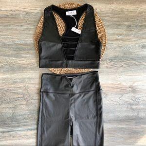 Black 2 Piece Faux Leather Crop Top & Shorts Set